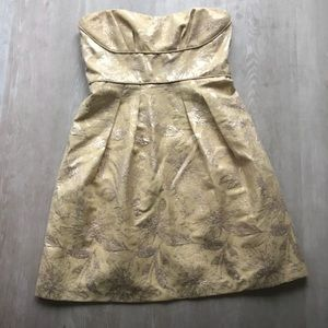BCBG Yellow/Metallic Jacquard SZ 6 Cocktail Dress